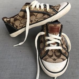 Coach brown and tan logo sneakers 8.5